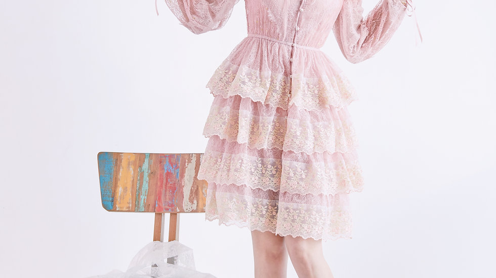 Crystal pink button down lace dress