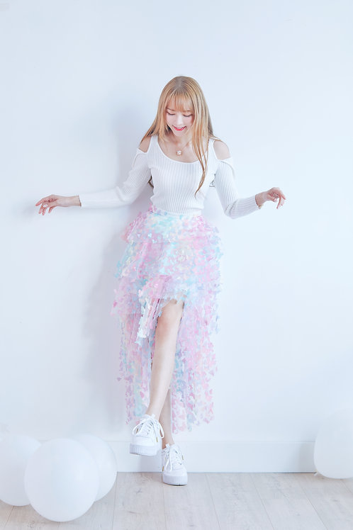 Rainbow butterfly layered skirt
