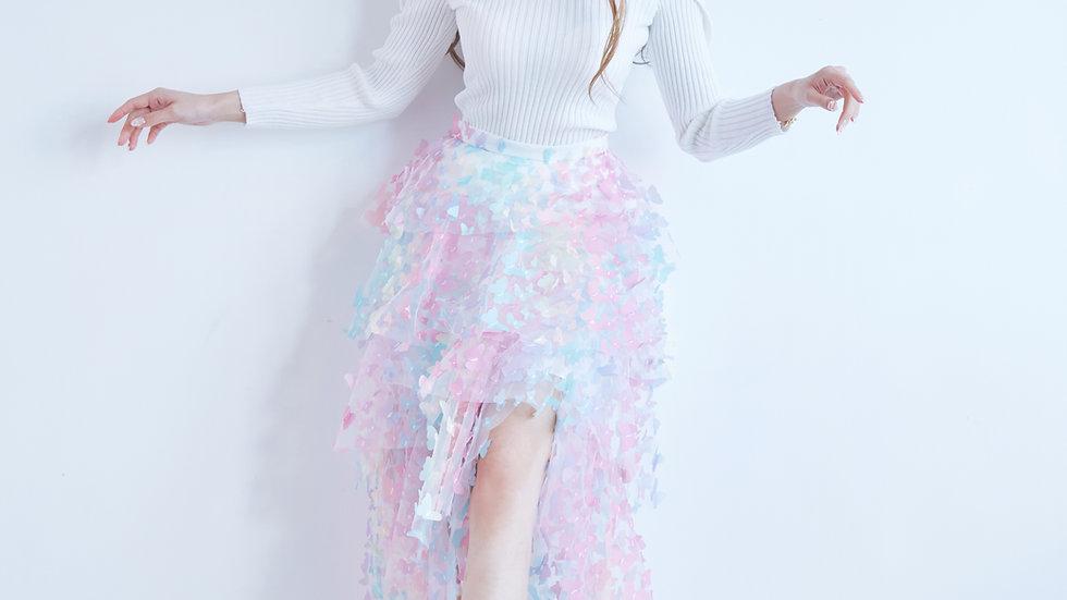Rainbow butterfly layered skirt
