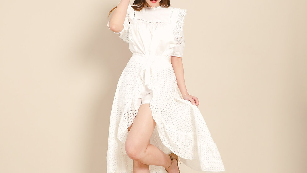 Kanalili White Crochet High-low Wrap Skirt
