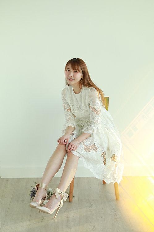 Kanalili silk- cotton floral embroidered  dress