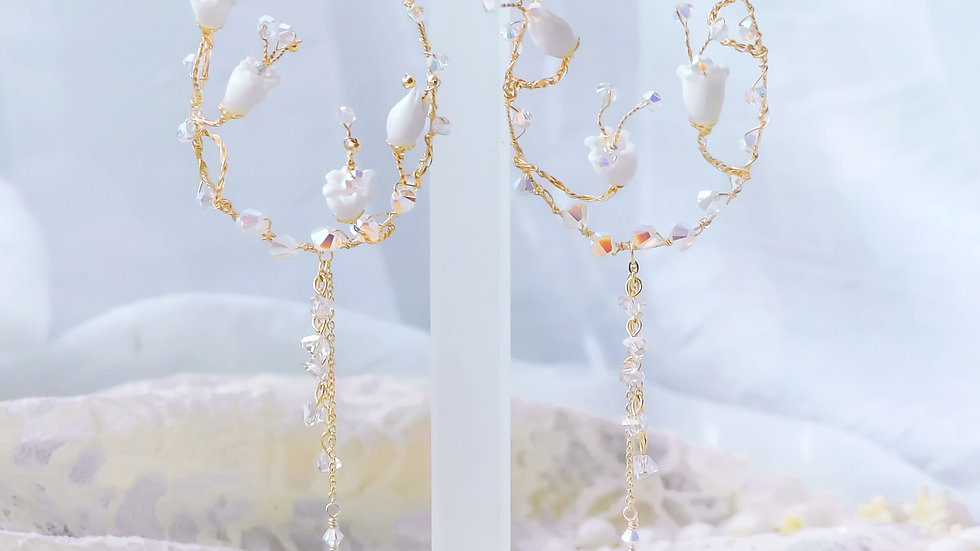 Pamycarie x KanaLili Lily of the Valley Gold-plated 925 Silver Hoop Earrings