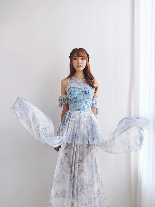 Kanalili blue and white printed chiffon midi dress w/ bustier