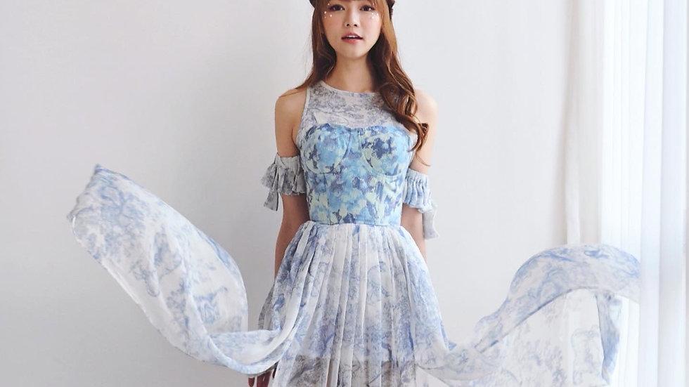 Kanalili blue and white printed chiffon midi dress