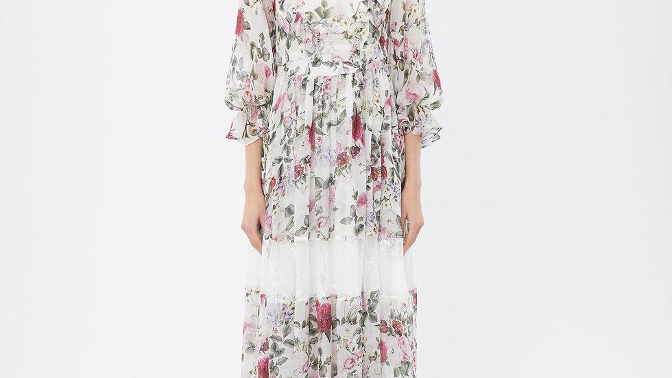 KanaLili rosy silk maxi dress