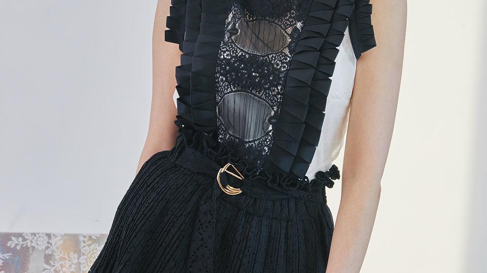 Ribbon embellished lace & silk organza top