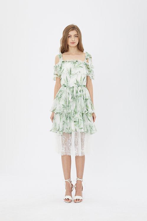 KanaLili lily of the valley silk chiffon off shoulder dress