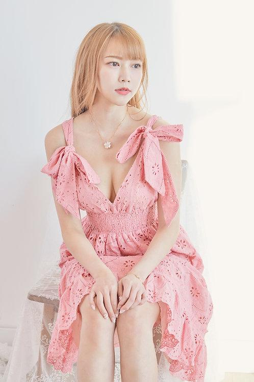 Peach bow embellished eyelet lace dress
