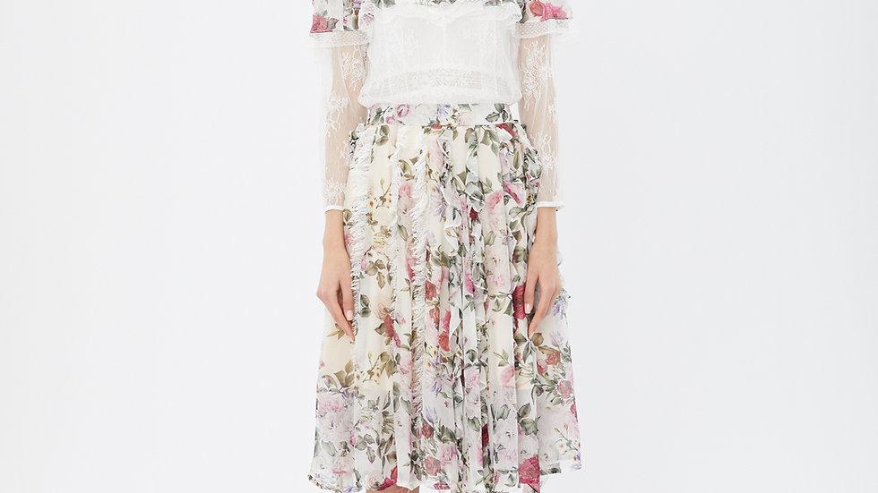 KanaLili rosiest silk ruffles skirt