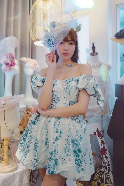 Kanalili silk blue rose printed off-shoulder bubble dress