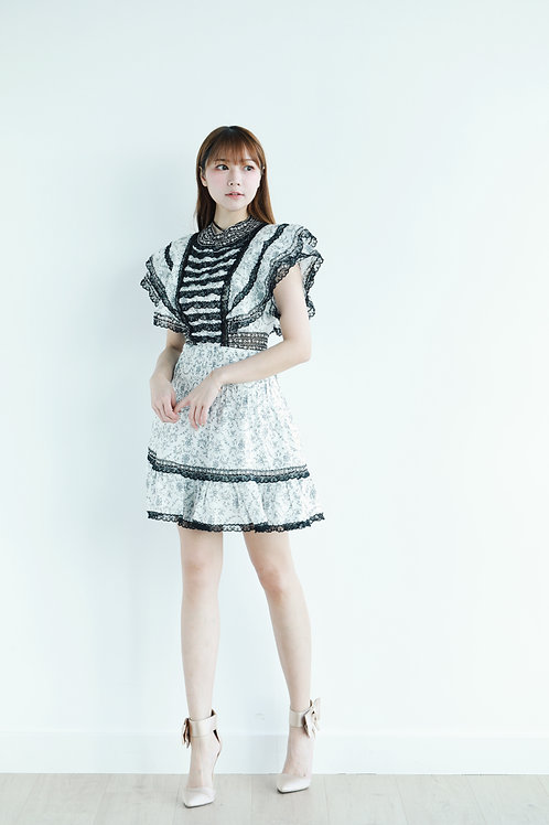 Intricate black & white dress
