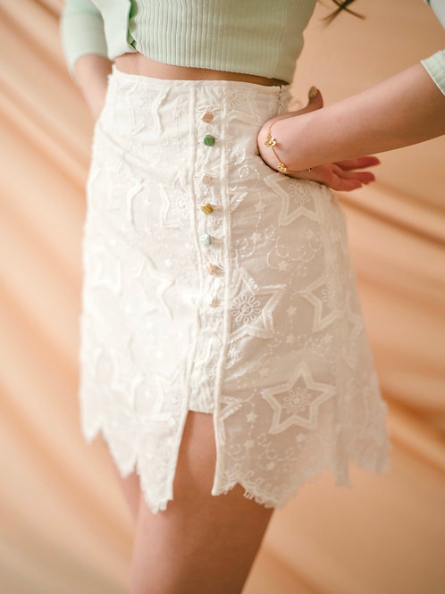 Kanalili star tassel embroidered skirt