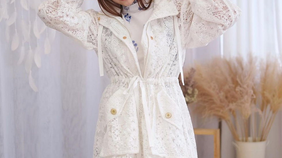 Kanalili Willow Lace Jacket in Pearl