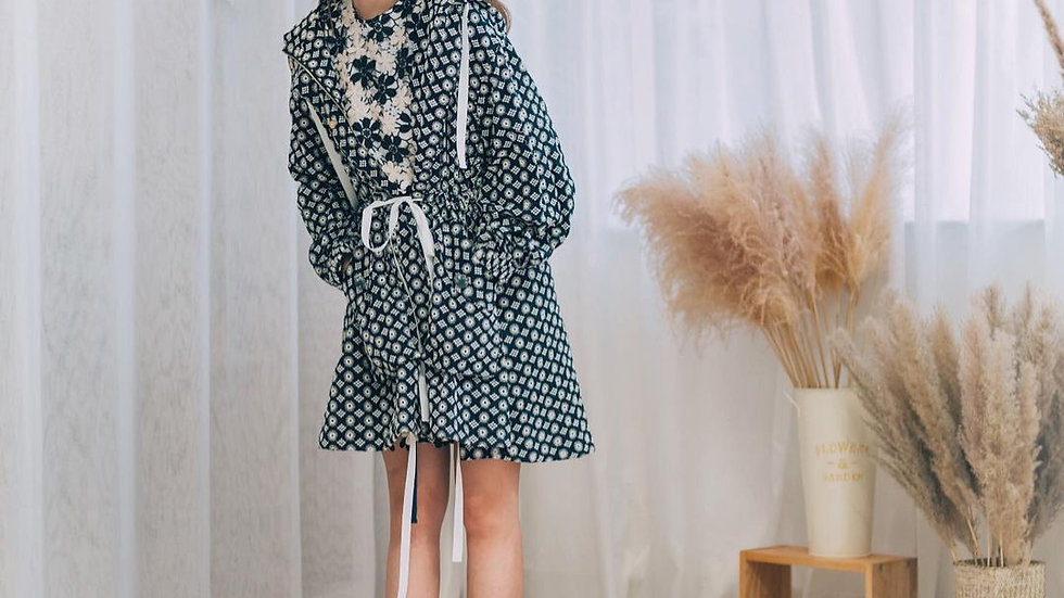 Kanalili Willow Embroidered Jacket in Navy