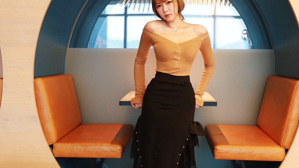 Kanalili black lace and pearl embellished skirt