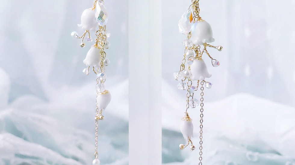 Pamycarie x KanaLili Lily of the Valley Gold-plated 925 Silver Dangle Earrings