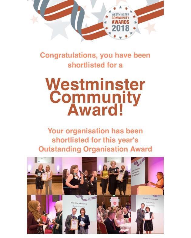 On the shortlist for Westminster Community Award's Outstanding Organisation Award