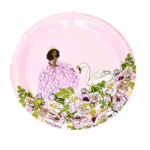 African American Swan Princess Large Party Plates