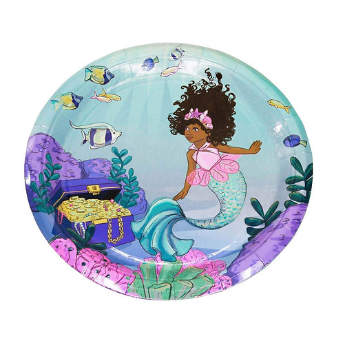 African American Mermaid Large Party Plates