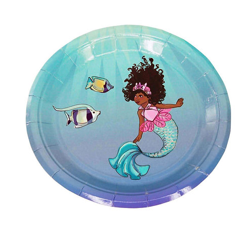 African American Mermaid Small Party Plates