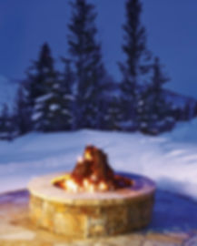 Steel Campfire With Snowy Background