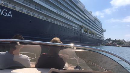 Admiring a shiny new cruise ship at Falmouth Docks