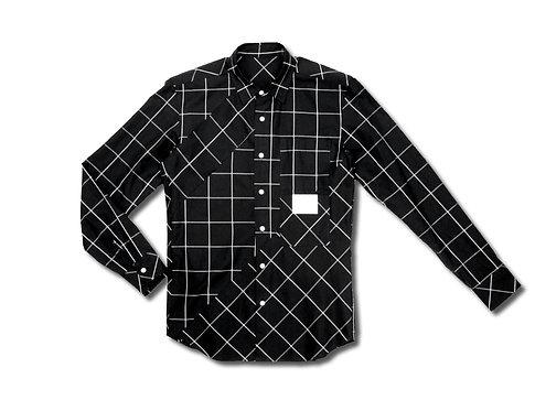 切替えパッチチェックシャツ ブラック