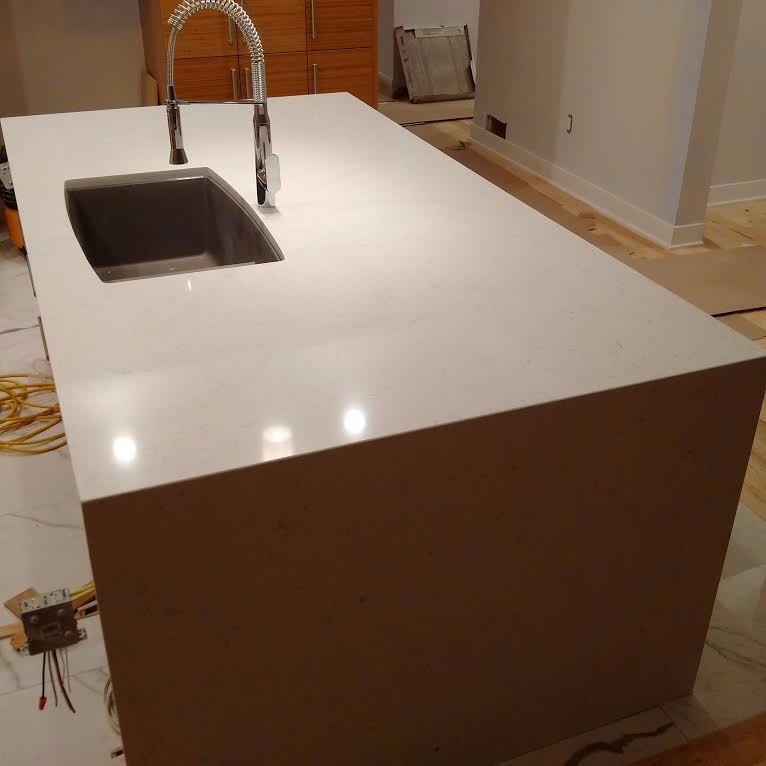 Waterfall Island Quartz Countertops