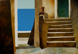 Scala e mare 1 - Stairs and sea 1 - oil on canvas - cm 70x100