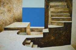 Scale e mare 2 - Stairs and sea 2 - Oil on canvas - cm 100x150