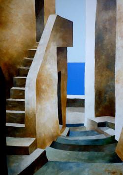 Casa sul mare 1 - House by the sea 1 - oil on canvas - cm 50x70
