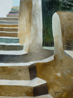 Su per le scale 4 - Up to the stairs 4 - oil on canvas - cm 18x24