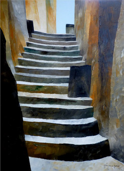 Su per le scale 2 - Up to the stairs 2 - oil on canvas - cm 30x40