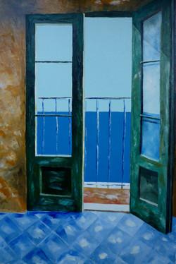 Balcone sul mare 1 - Balcony overlooking the sea 1 - Oil on canvas - cm 40x60