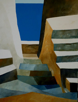 Discesa verso il mare e scale - Down to the stairs and sea - Oil on canvas - cm 30x40