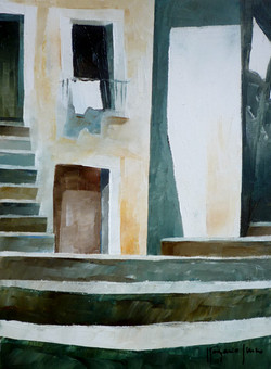 Scale e panni stesi - Stairs and clothes hung out to dry - oil on canvas - cm 18x24