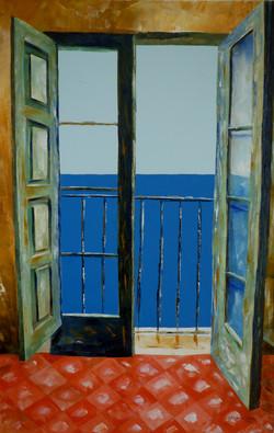 Balcone sul mare 2 - Balcony overlooking the sea 2 - Oil on canvas - cm 40x60