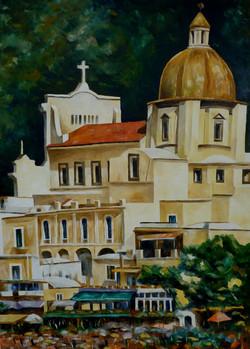Chiesa Madre di Positano - Positano Mother Church - Oil on canvas - cm 60x80