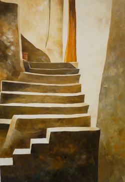 Doppia scala - Double stair - Oil on canvas - cm 50x70