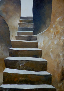 Su per le scale 1 - Up to the stairs 1 - Oil on canvas - cm 30x40