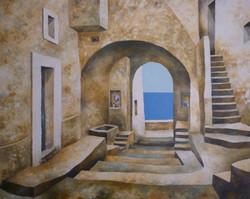 Arcate verso il mare - Arches down to the sea - oil on canvas - cm 120x150