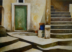 Esterno con scala e portone - External with stairs and door - Oil on canvas - cm 70x100