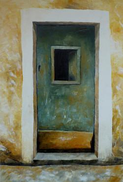 Portone verde - Green door - oil on canvas - cm 60x40