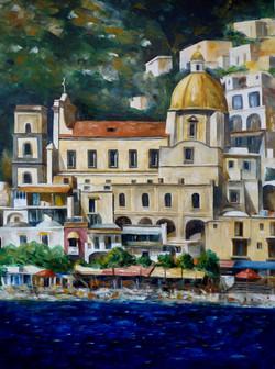 Positano dal mare - Positano sea view - Oil on canvas - cm 60x80