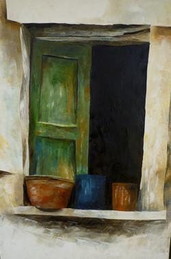 Finestra con vasi 1 - Window and pots 1 - Oil on canvas - cm 35x50