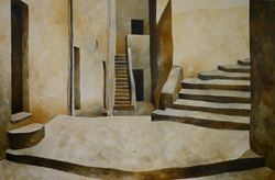 Piazza con scale - Square and stairs - Oil on canvas - cm 80x120