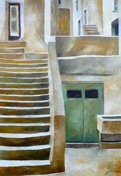 Scale e portone verde 2 - Stairs and green door 2 - oil on canvas - cm 35x50