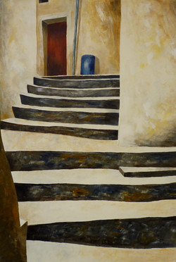 Scala con porta rossa - Stair with red door - Oil on canvas - cm 50x70