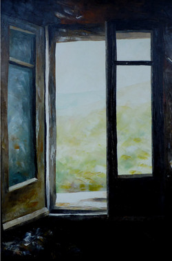 Finestra ad Aritzo - Window in Aritzo (Sardinia) - oil on canvas - cm 35x50