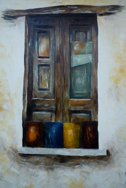 Finestra con vasi 2 - Window and pots 2 - oil on canvas - cm 40x60
